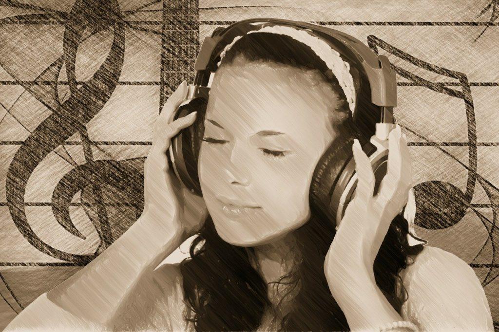 girl, headphones, music