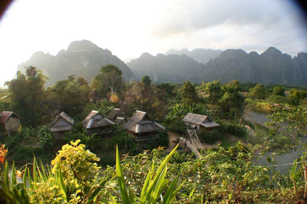 laos, huts, asia